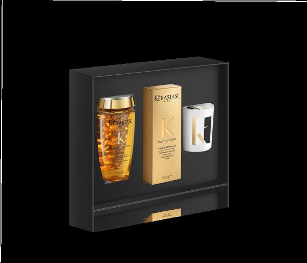 KÉRASTASE Elixir Ultime Coffret, Haarbad, Pflege-Öl und Kerze